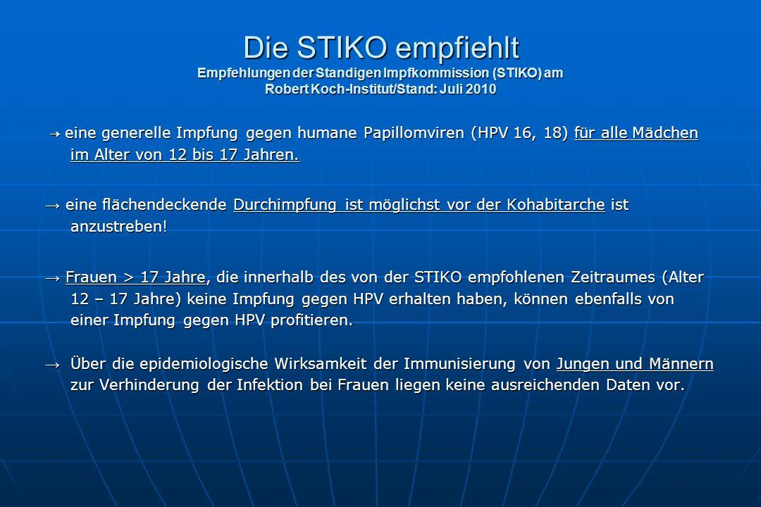 Die STIKO empfiehlt Empfehlungen der Standigen Impfkommission (STIKO) am Robert Koch-Institut/Stand: Juli 2010