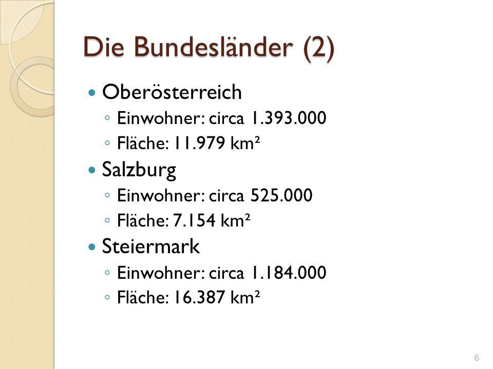 Die Bundesländer (2) Oberösterreich Salzburg Steiermark