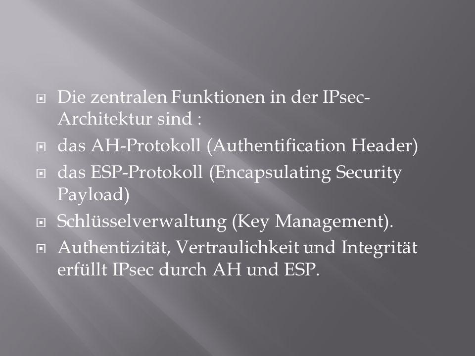 Die zentralen Funktionen in der IPsec-Architektur sind :