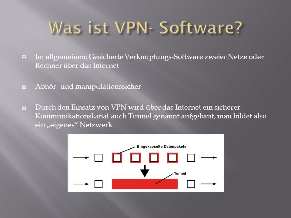 Was ist VPN- Software Im allgemeinen: Gesicherte Verknüpfungs-Software zweier Netze oder Rechner über das Internet.