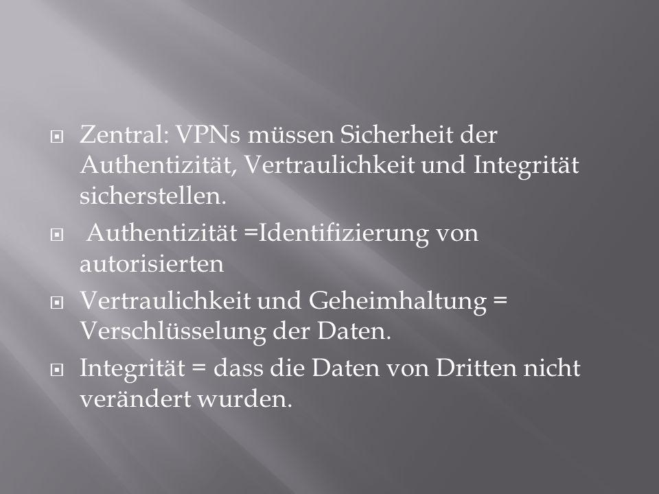 Zentral: VPNs müssen Sicherheit der Authentizität, Vertraulichkeit und Integrität sicherstellen.