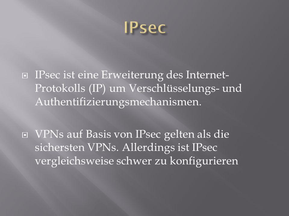 IPsec IPsec ist eine Erweiterung des Internet-Protokolls (IP) um Verschlüsselungs- und Authentifizierungsmechanismen.