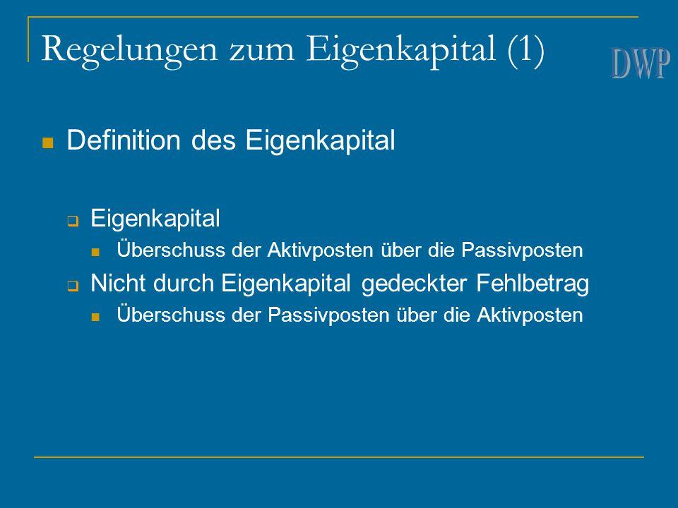 Regelungen zum Eigenkapital (1)