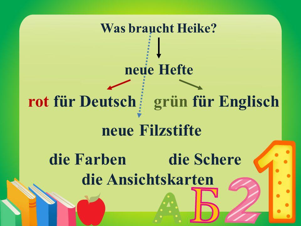 rot für Deutsch grün für Englisch