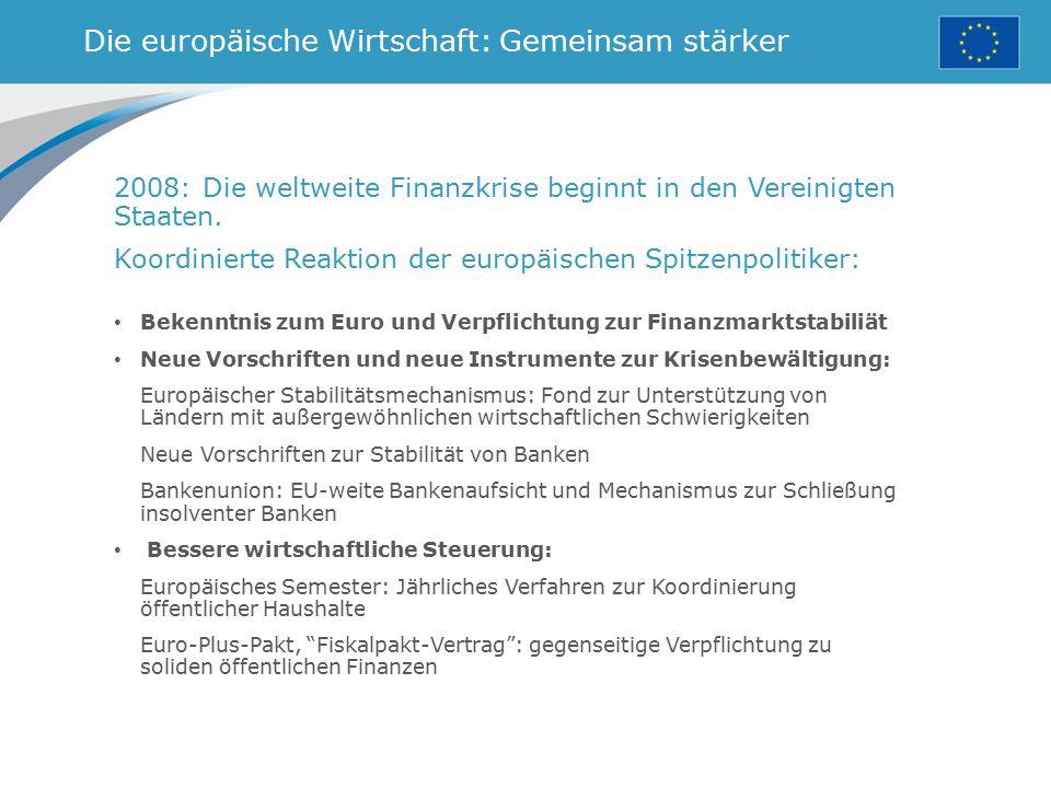 Die europäische Wirtschaft: Gemeinsam stärker