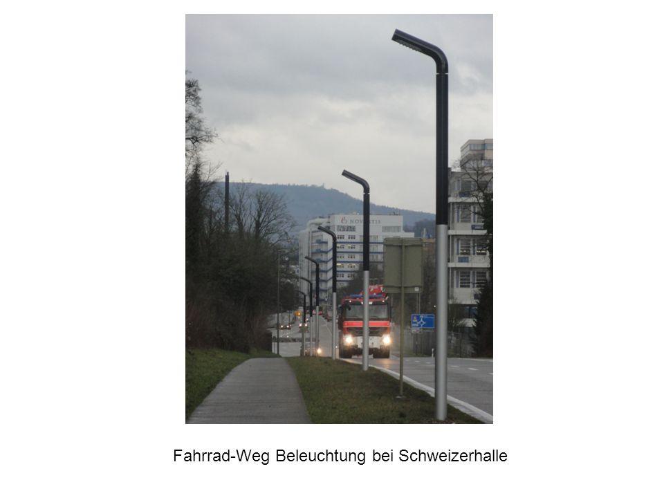 Fahrrad-Weg Beleuchtung bei Schweizerhalle