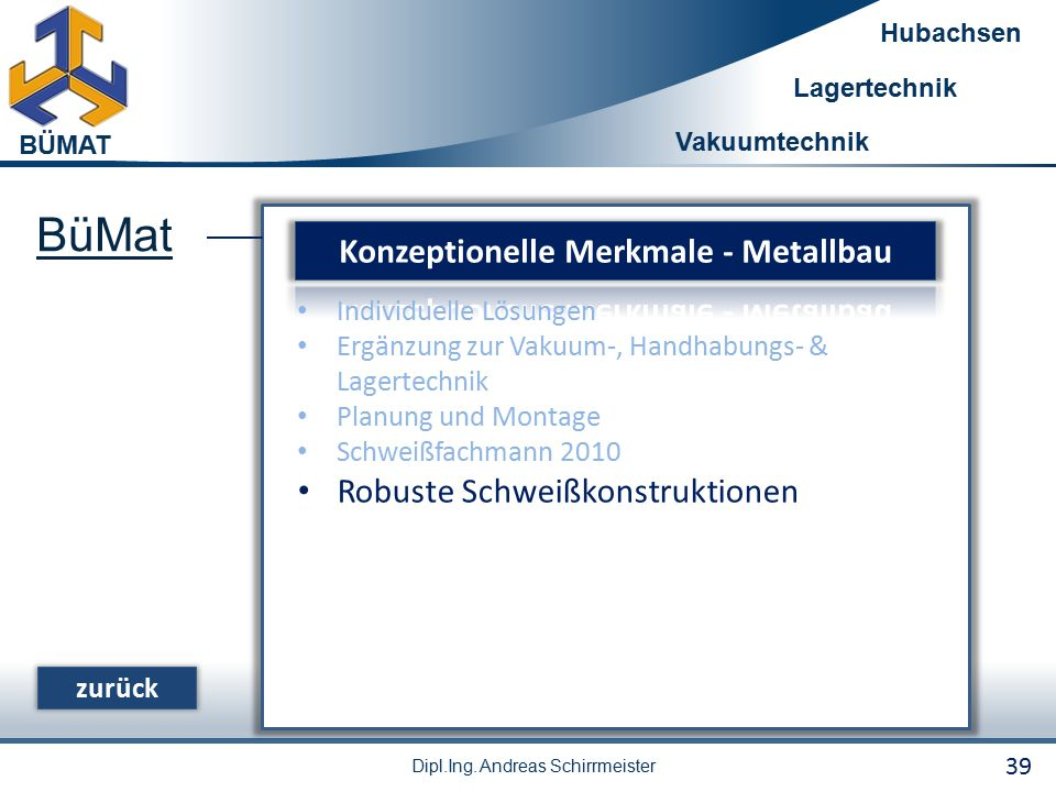 Konzeptionelle Merkmale - Metallbau