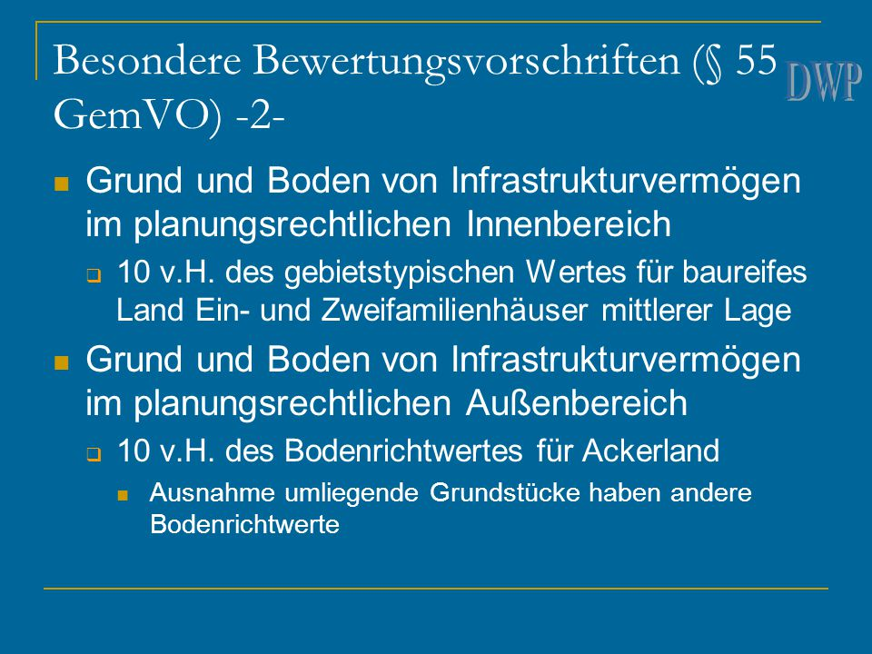 Besondere Bewertungsvorschriften (§ 55 GemVO) -2-
