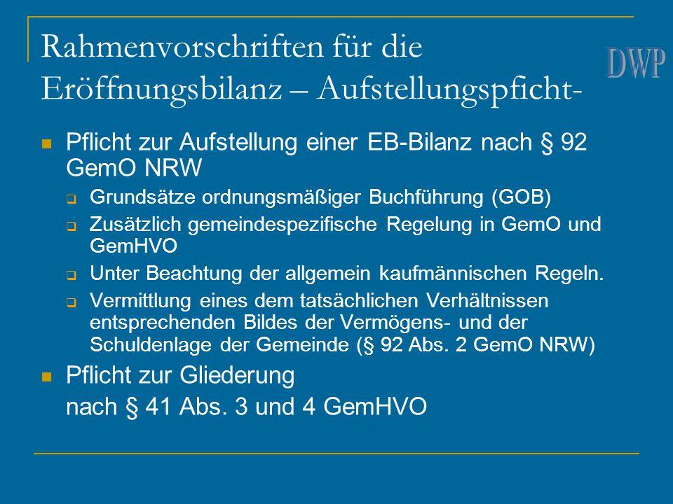 Rahmenvorschriften für die Eröffnungsbilanz – Aufstellungspficht-