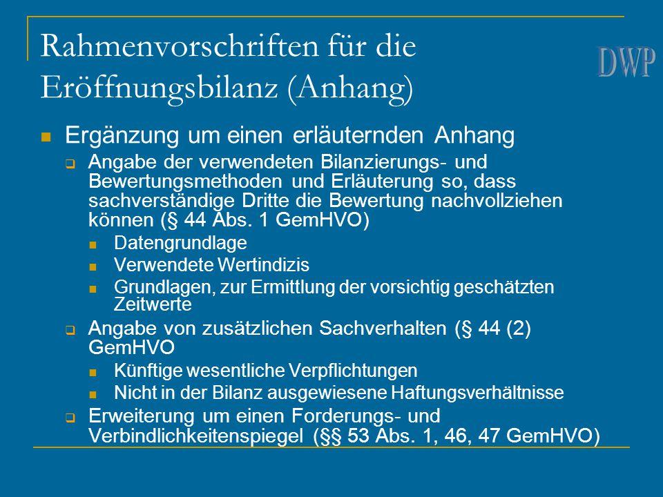 Rahmenvorschriften für die Eröffnungsbilanz (Anhang)