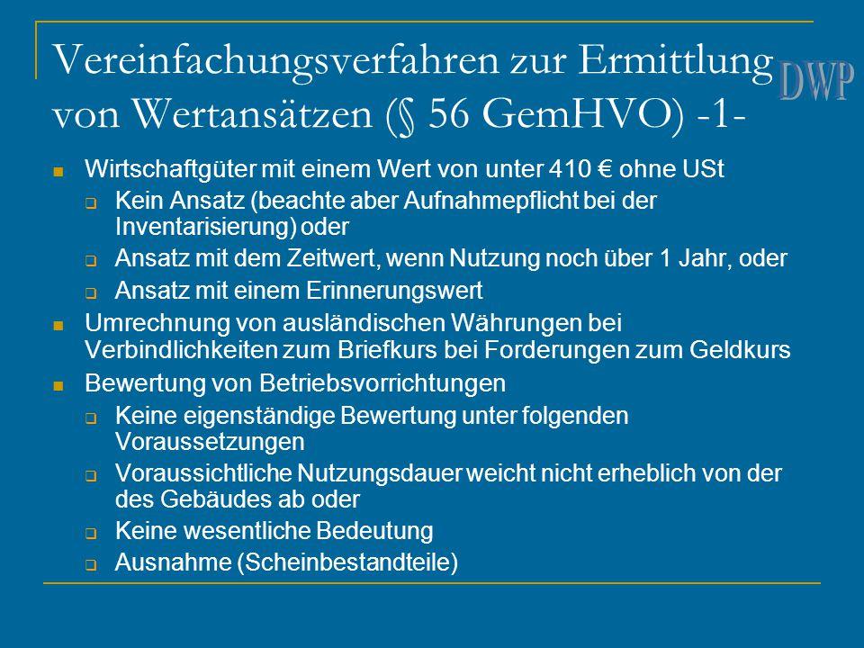 Vereinfachungsverfahren zur Ermittlung von Wertansätzen (§ 56 GemHVO) -1-