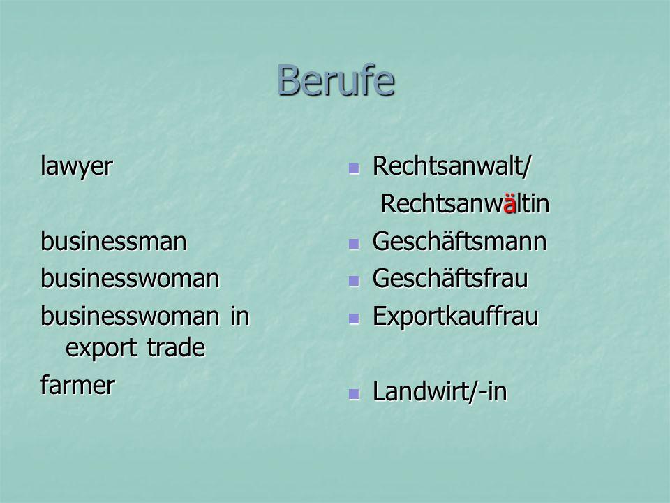 Berufe lawyer businessman businesswoman businesswoman in export trade