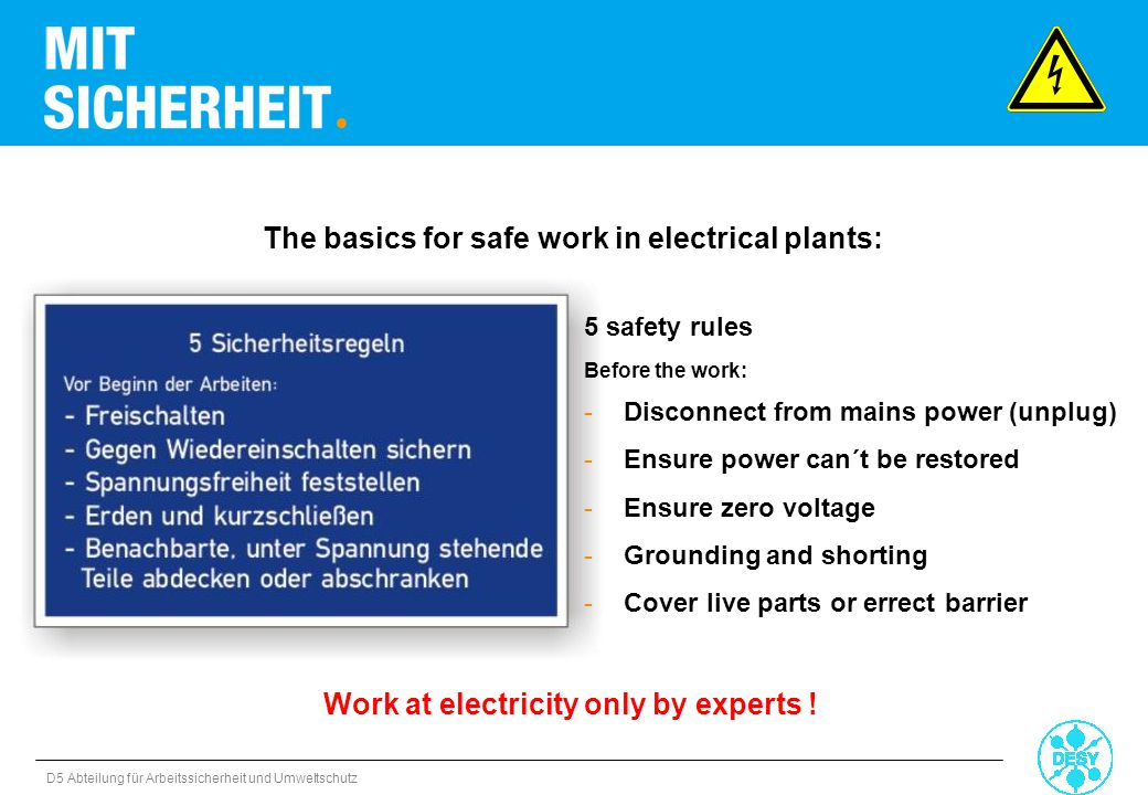 The basics for safe work in electrical plants: