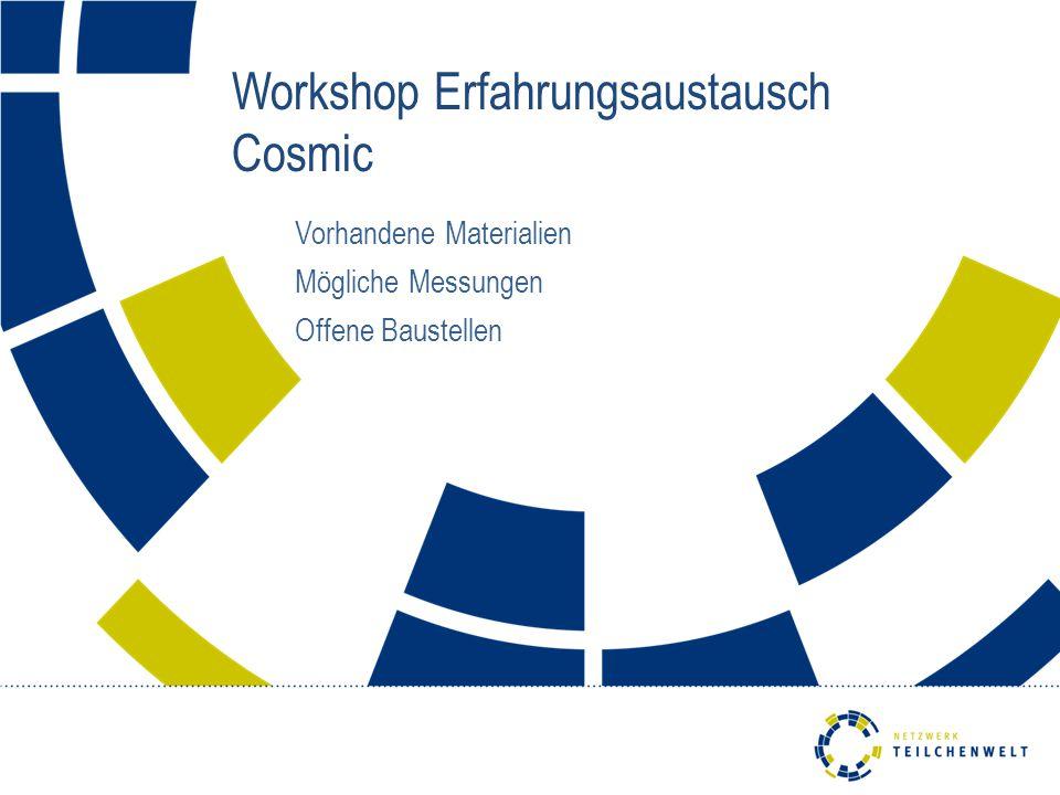 Workshop Erfahrungsaustausch Cosmic