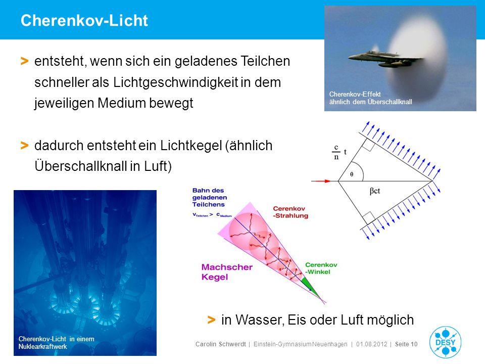 Cherenkov-Licht entsteht, wenn sich ein geladenes Teilchen schneller als Lichtgeschwindigkeit in dem jeweiligen Medium bewegt.