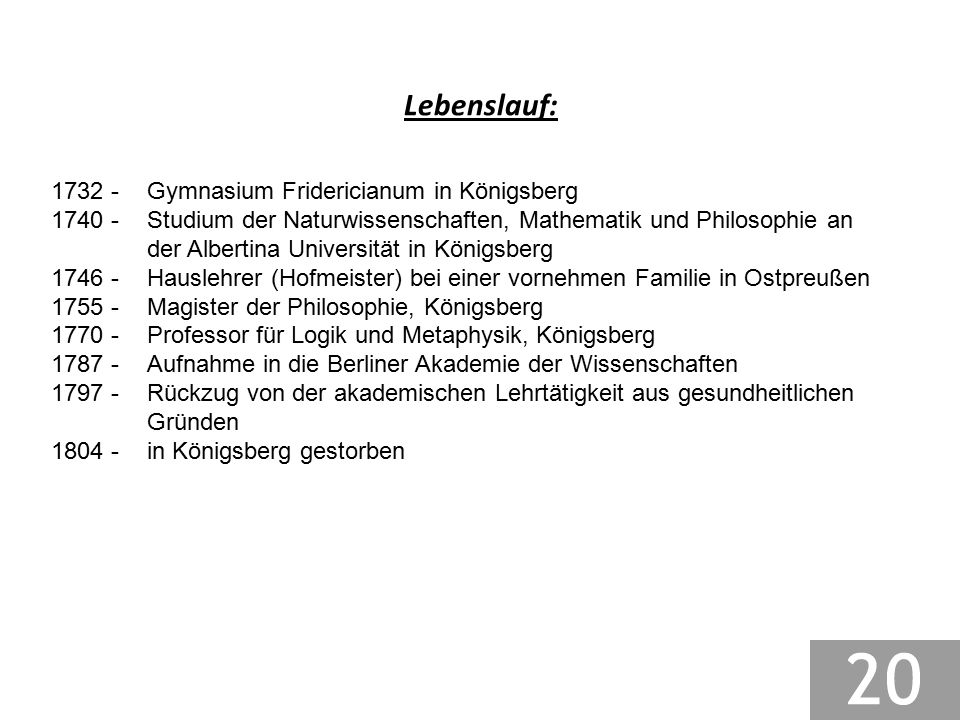 Lebenslauf: 1732 - Gymnasium Fridericianum in Königsberg