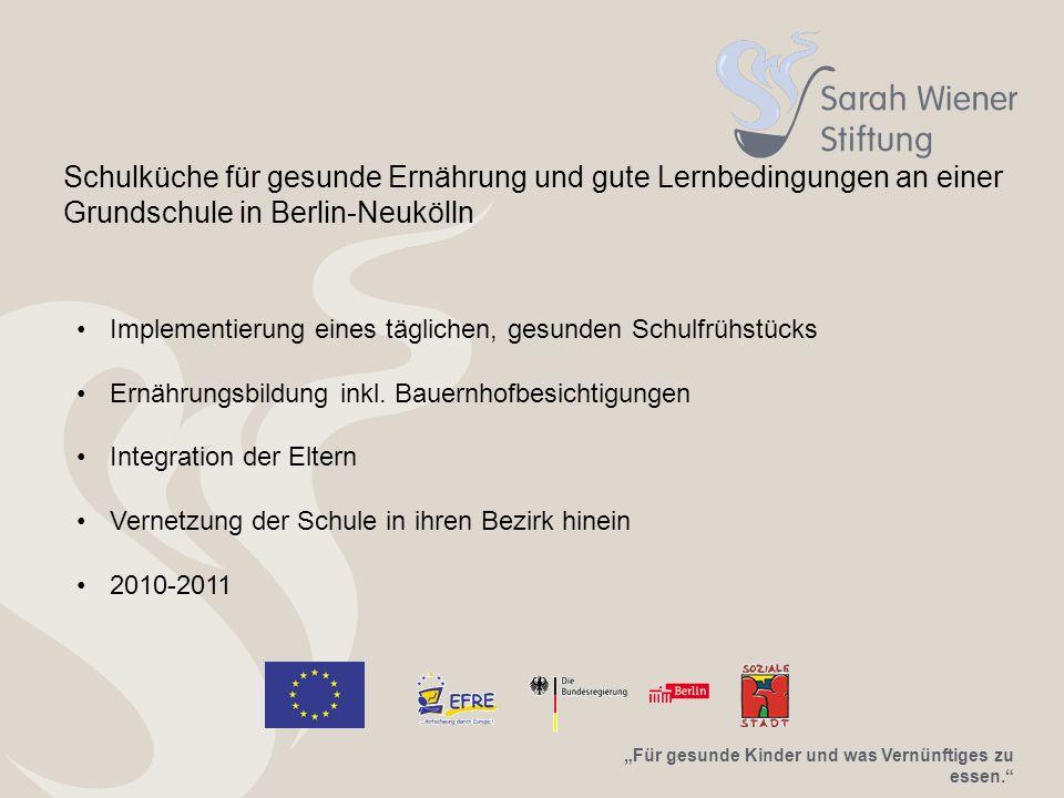 Schulküche für gesunde Ernährung und gute Lernbedingungen an einer Grundschule in Berlin-Neukölln