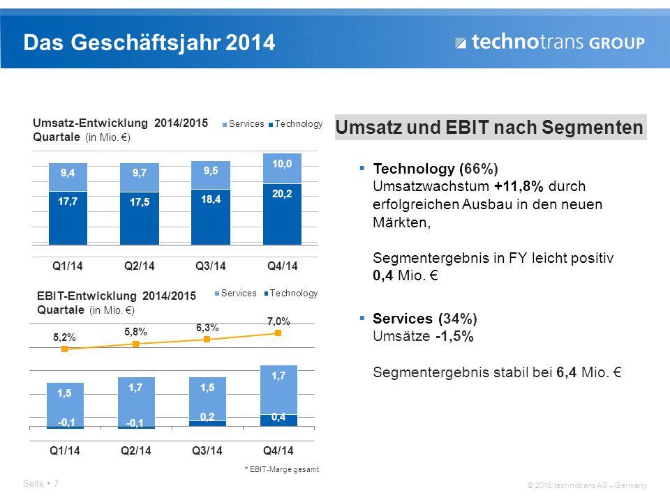 Das Geschäftsjahr 2014 Umsatz und EBIT nach Segmenten