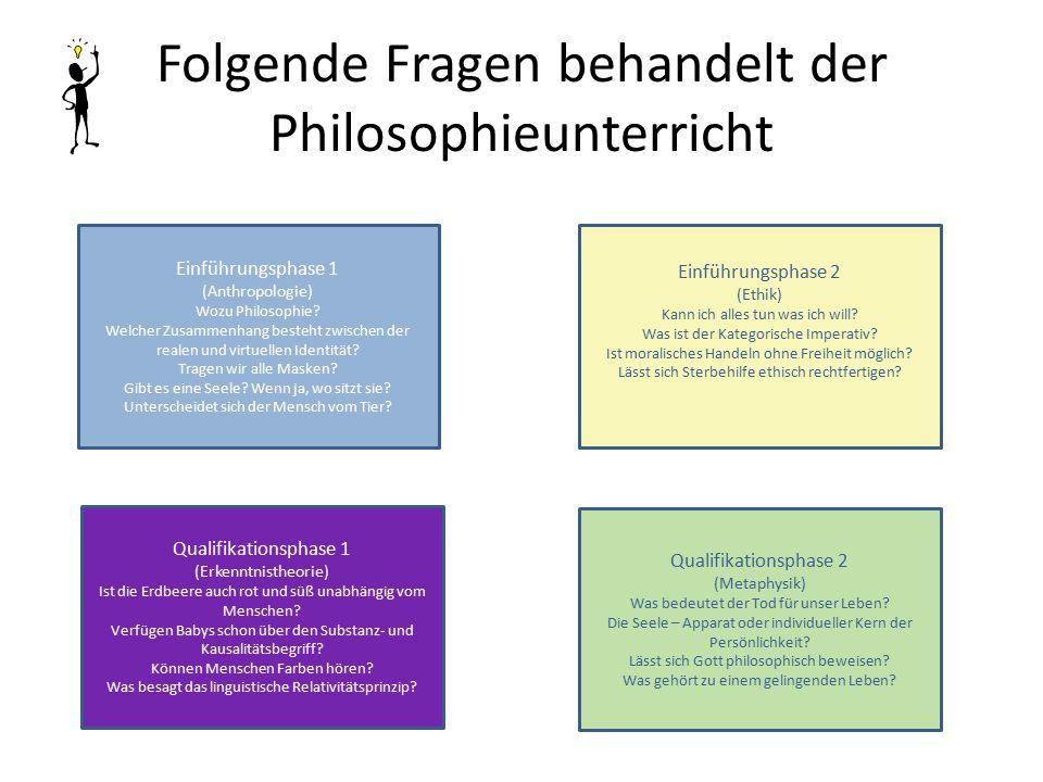 Folgende Fragen behandelt der Philosophieunterricht