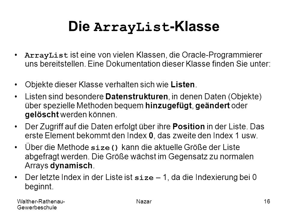 Die ArrayList-Klasse