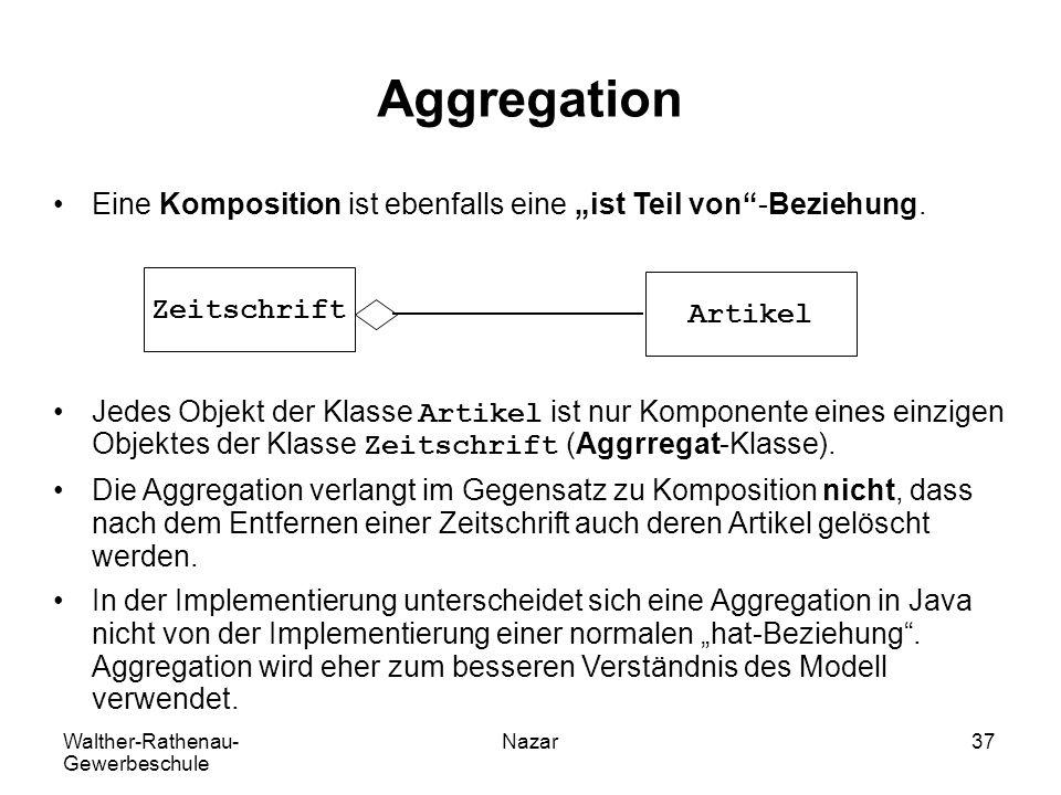 """Aggregation Eine Komposition ist ebenfalls eine """"ist Teil von -Beziehung."""