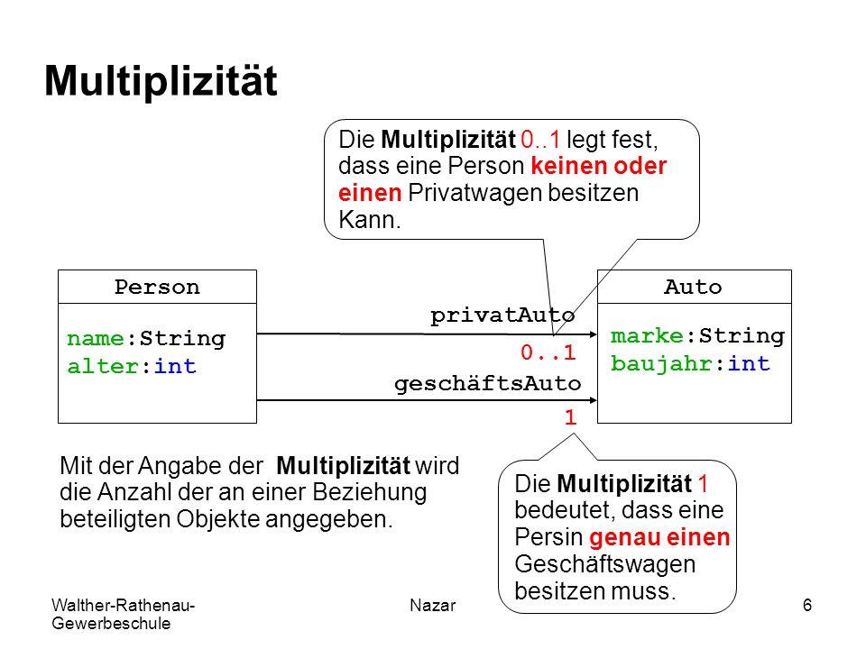 Multiplizität Die Multiplizität 0..1 legt fest,
