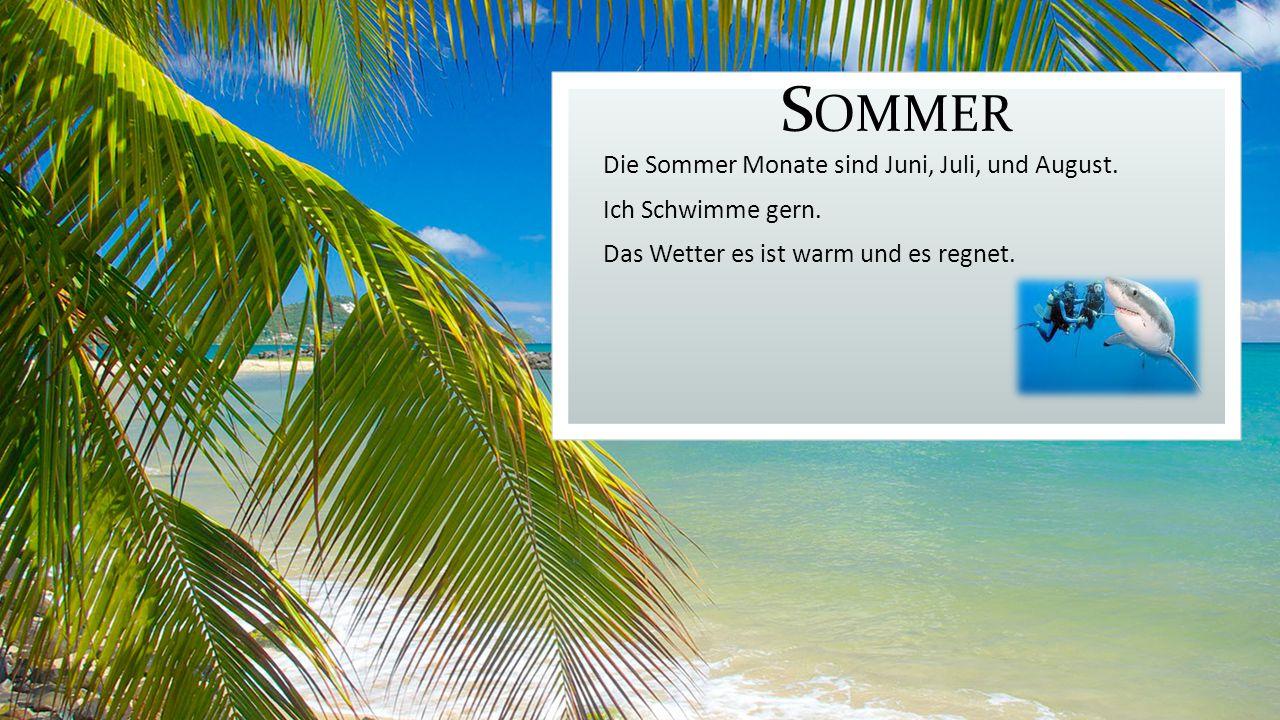 Sommer Die Sommer Monate sind Juni, Juli, und August.