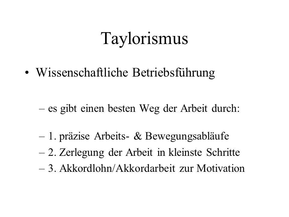 Taylorismus Wissenschaftliche Betriebsführung