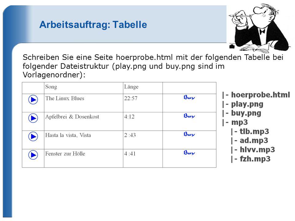 Arbeitsauftrag: Tabelle