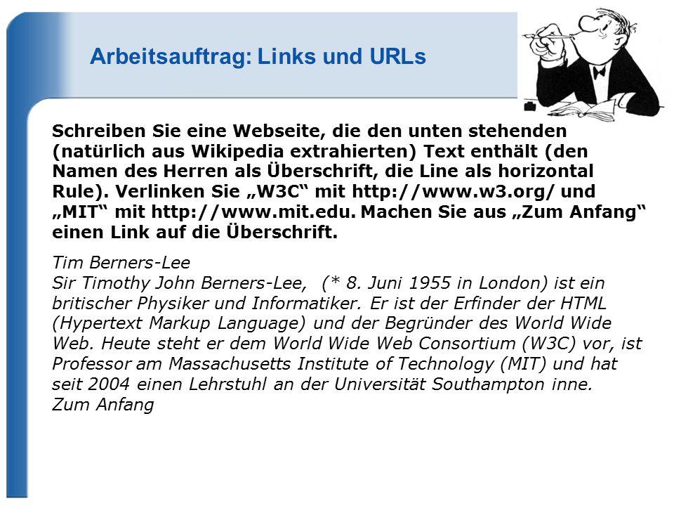 Arbeitsauftrag: Links und URLs