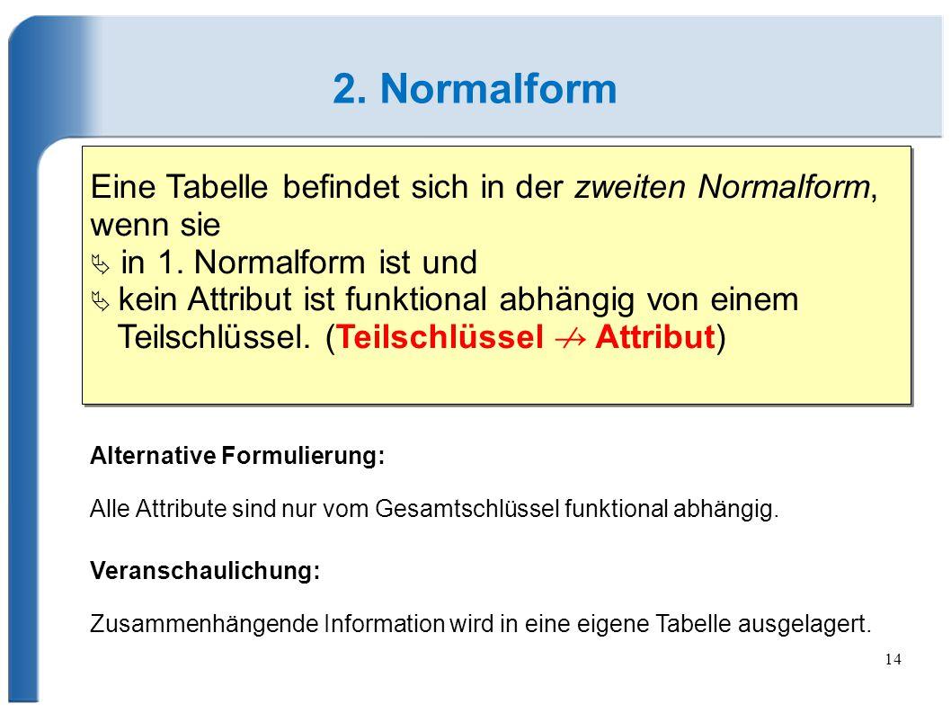 2. Normalform Eine Tabelle befindet sich in der zweiten Normalform, wenn sie.  in 1. Normalform ist und.