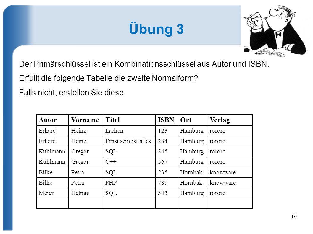 Übung 3 Der Primärschlüssel ist ein Kombinationsschlüssel aus Autor und ISBN. Erfüllt die folgende Tabelle die zweite Normalform