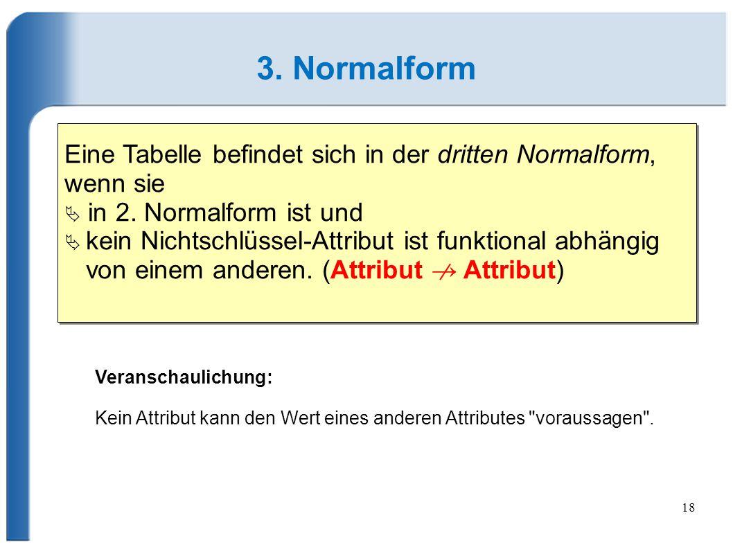 3. Normalform Eine Tabelle befindet sich in der dritten Normalform, wenn sie.  in 2. Normalform ist und.