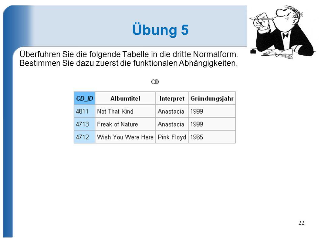 Übung 5 Überführen Sie die folgende Tabelle in die dritte Normalform.