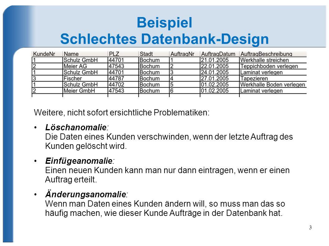 Schlechtes Datenbank-Design