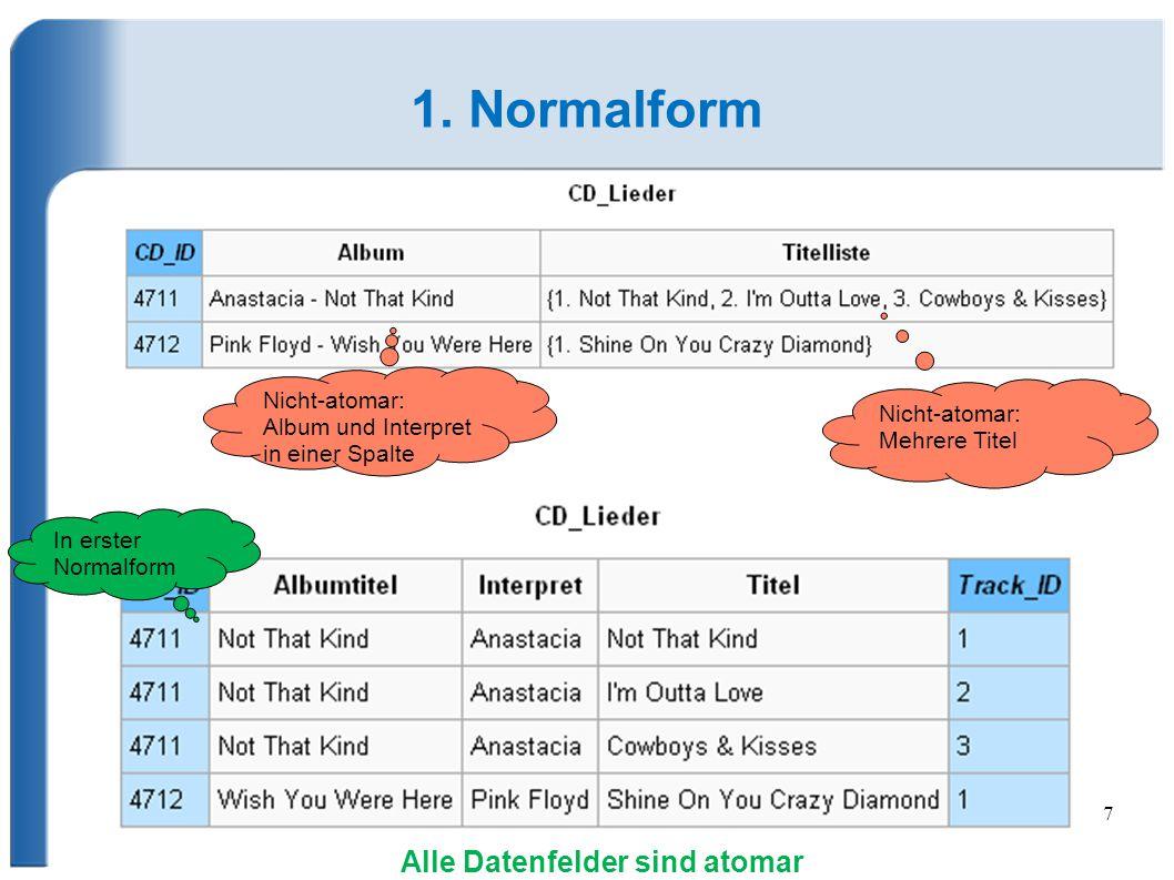 1. Normalform Alle Datenfelder sind atomar