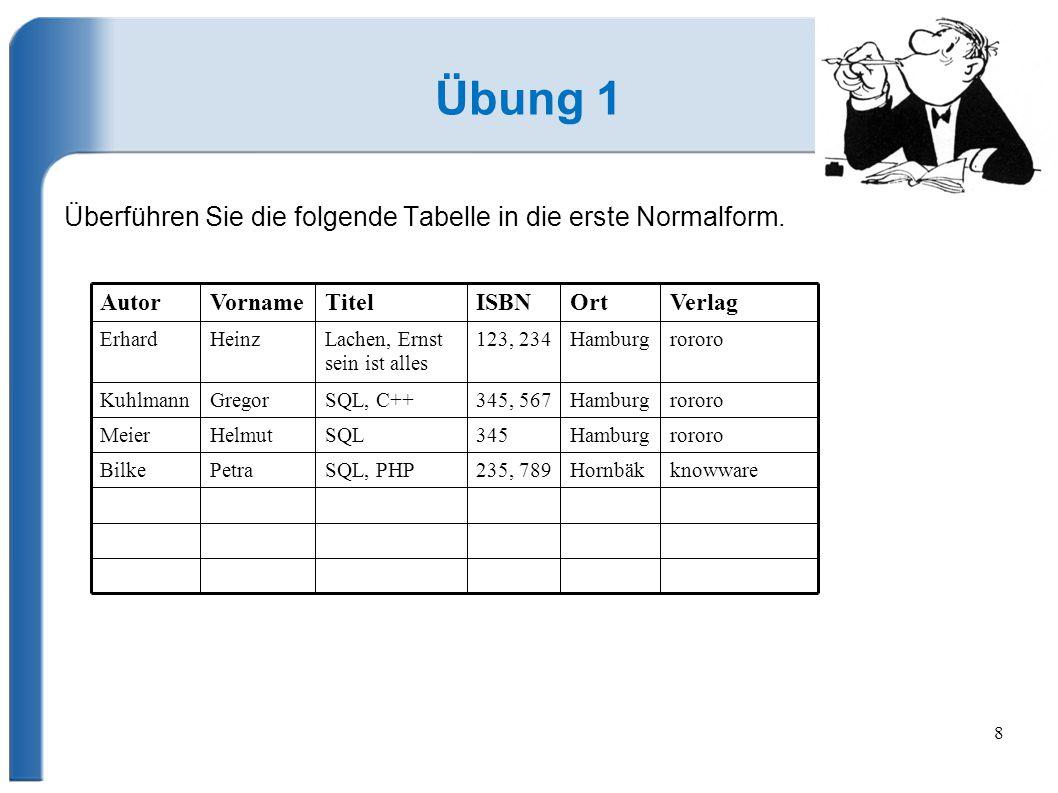 Übung 1 Überführen Sie die folgende Tabelle in die erste Normalform.