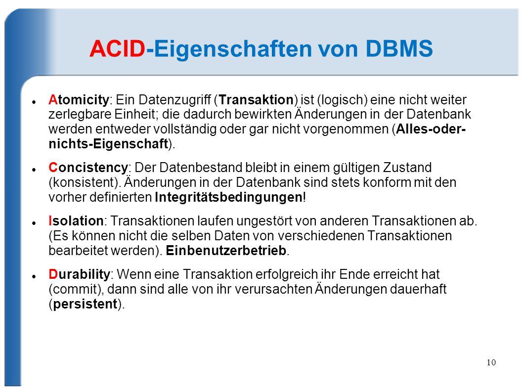 ACID-Eigenschaften von DBMS
