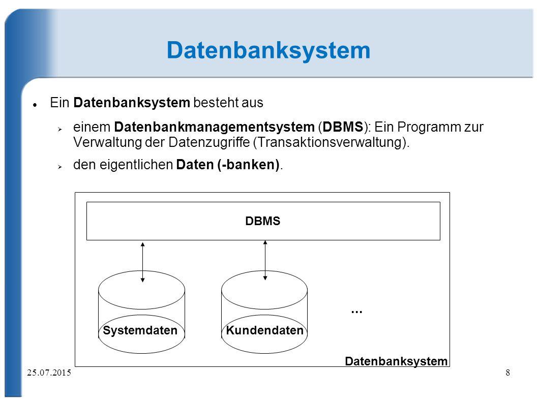 Datenbanksystem Ein Datenbanksystem besteht aus