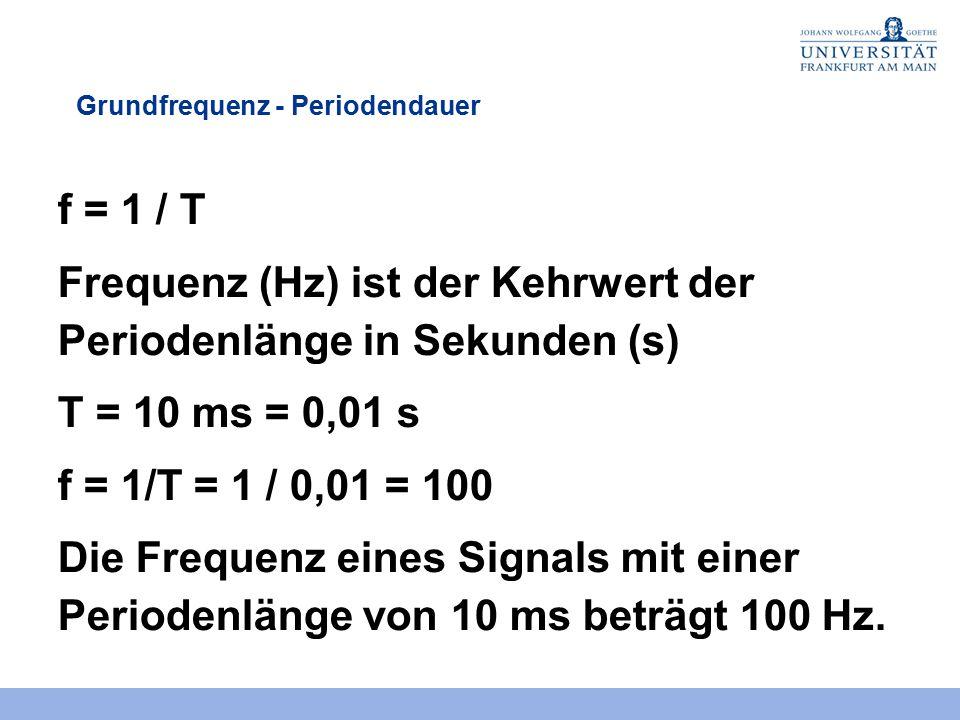 Frequenz (Hz) ist der Kehrwert der Periodenlänge in Sekunden (s)