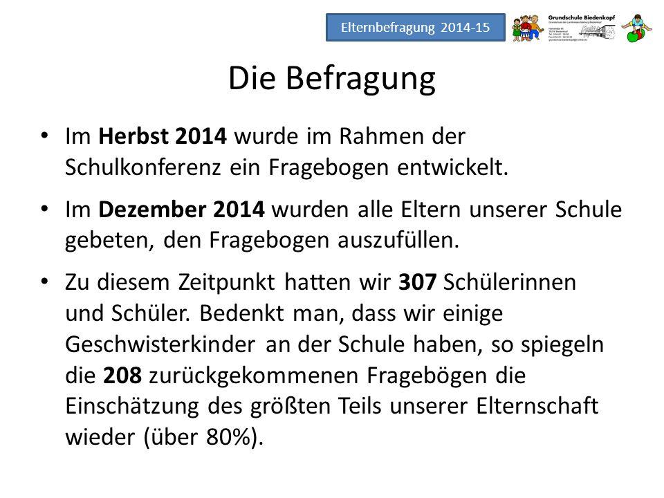 Elternbefragung 2014-15 Die Befragung. Im Herbst 2014 wurde im Rahmen der Schulkonferenz ein Fragebogen entwickelt.