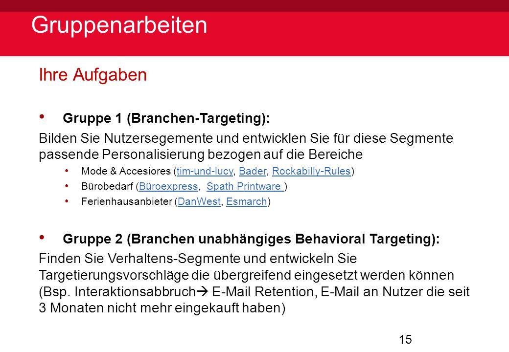 Gruppenarbeiten Ihre Aufgaben Gruppe 1 (Branchen-Targeting):