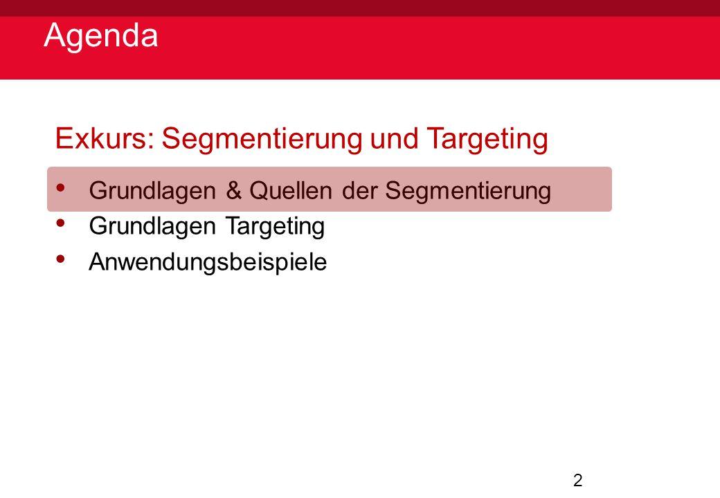 Agenda Exkurs: Segmentierung und Targeting