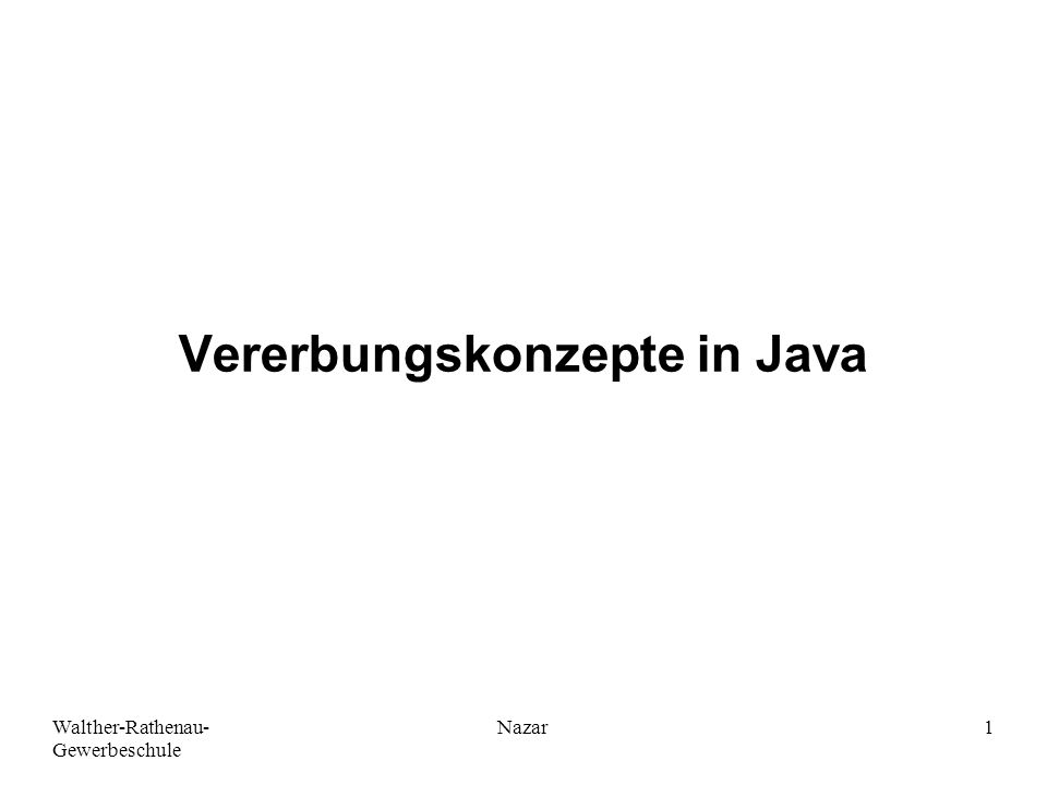 Vererbungskonzepte in Java