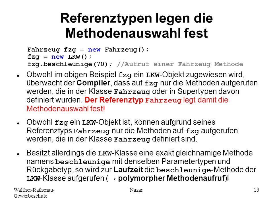 Referenztypen legen die Methodenauswahl fest