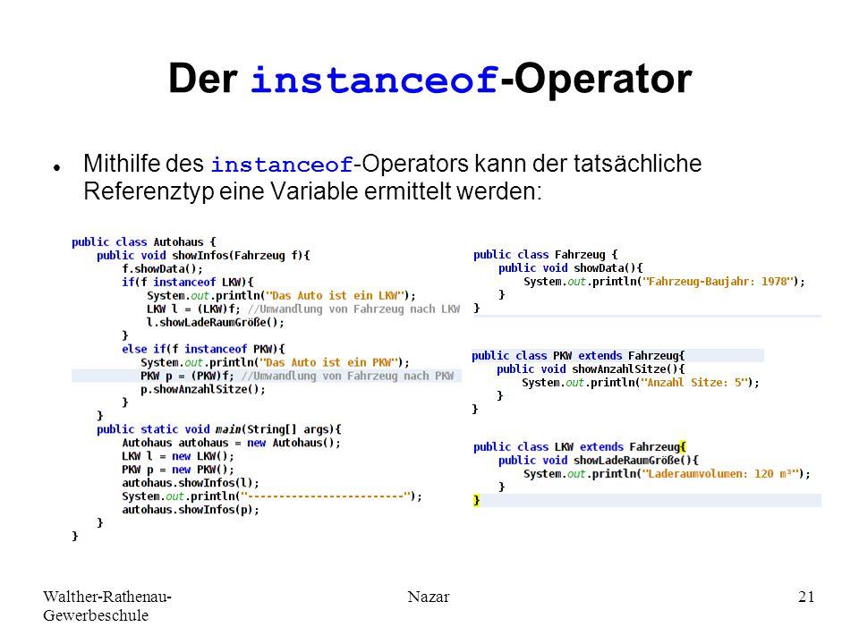 Der instanceof-Operator