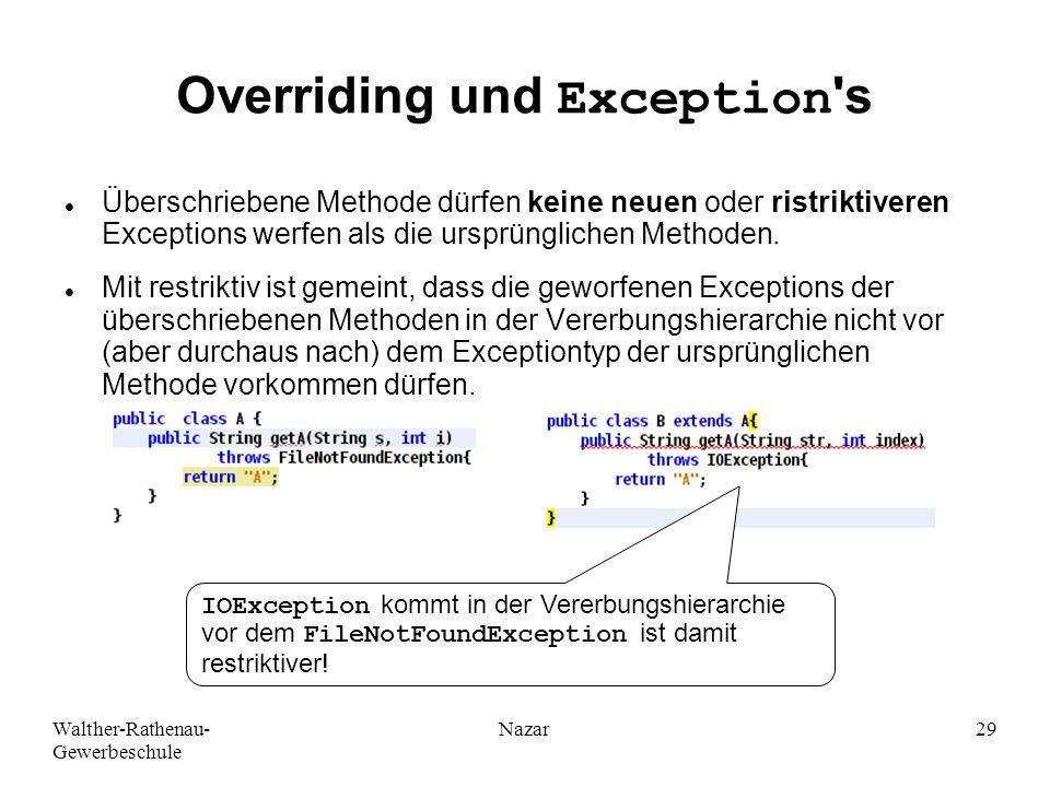 Overriding und Exception s