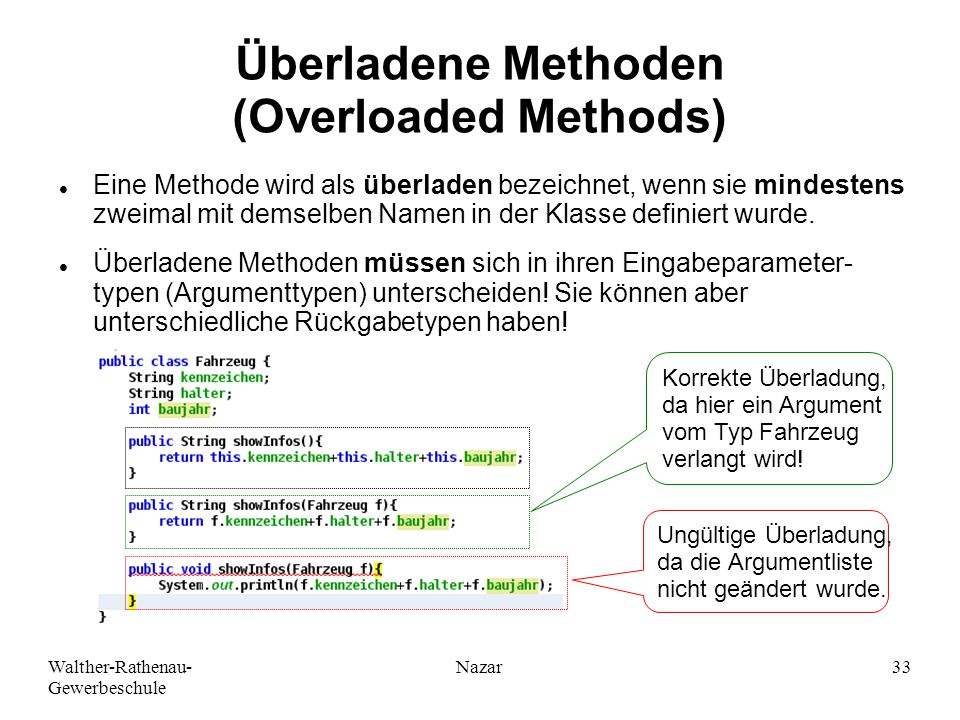 Überladene Methoden (Overloaded Methods)