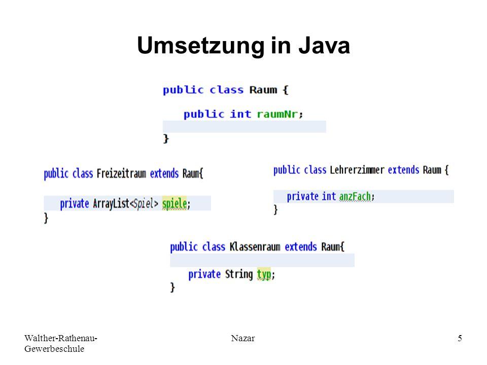 Umsetzung in Java Ahmad-Nessar Nazar Walther-Rathenau-Gewerbeschule