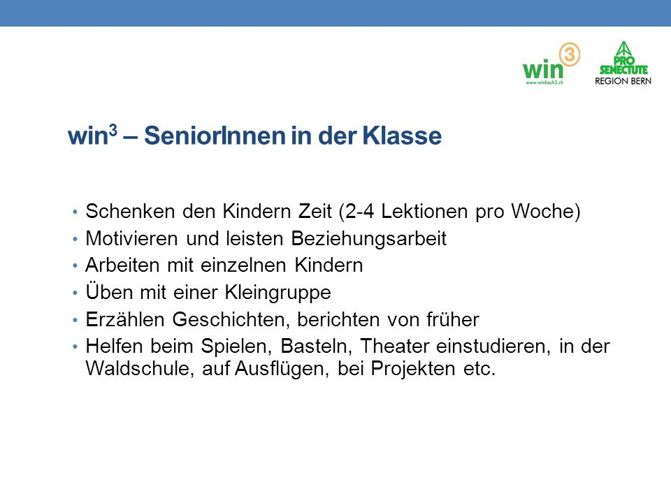 win3 – SeniorInnen in der Klasse